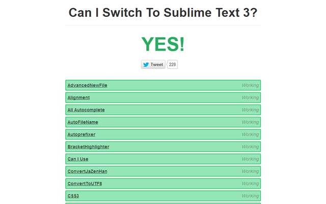 Can I Switch To Sublime Text 3?の判定結果